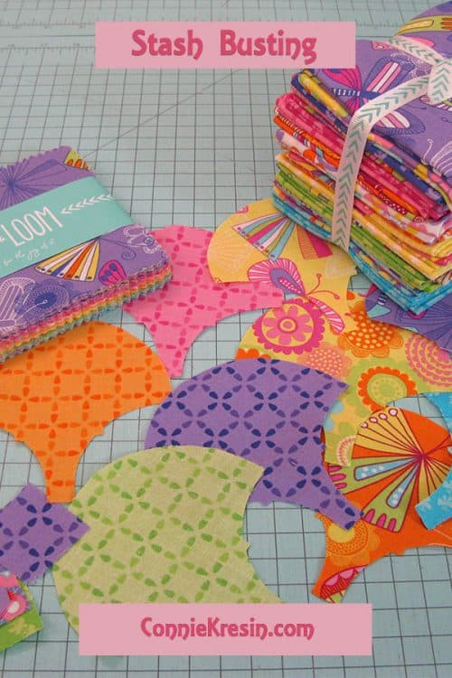 Charm Squares and Clamshell die for quilt stash busting #AccuQuilt #quilting #pillow