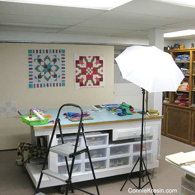 Quilt Studio lighting and table for photos of quilt projects