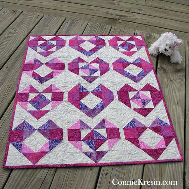 Batik Heart baby quilt tutorial ConnieKresin.com