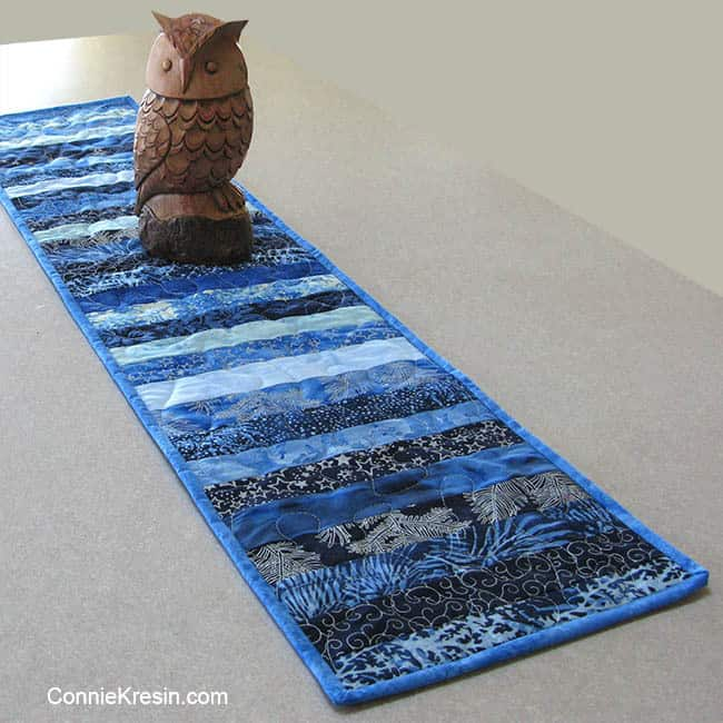Blue Batik Table Runner on kitchen island