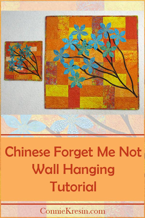 Quilted and appliqued batik Chinese Forget Me Not quilt tutorial in 2 sizes