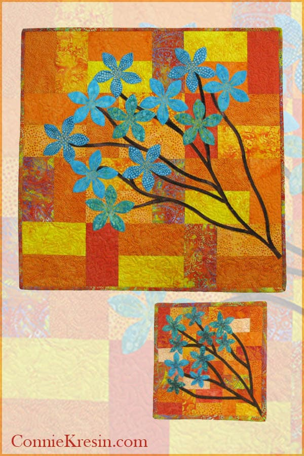 Quilted and appliqued batik Chinese Forget Me Not quilt tutorial in 2 sizes #AccuQuilt #IslandBatik #quilting #applique #batiks #tutorial