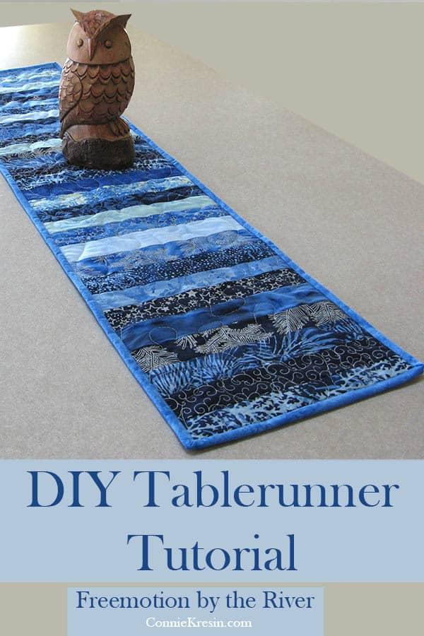 DIY Skinny Blue Batik Strips Tablerunner Tutorial #IslandBatik #Quilting #DIY #batiks #tutorial #tablerunner