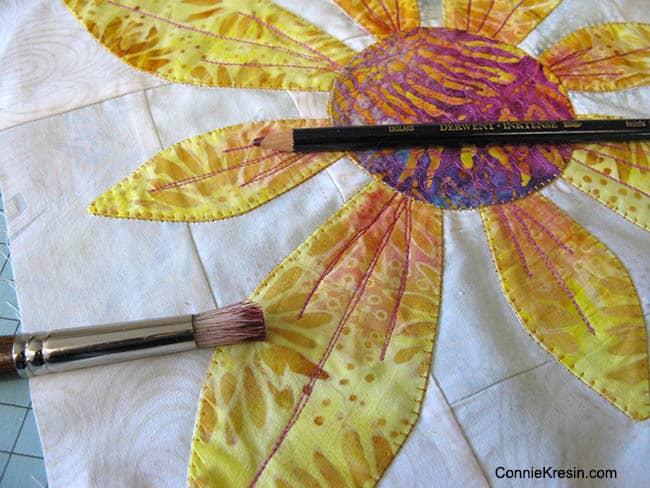Derwent Inktense pencils on Island Batik appliques