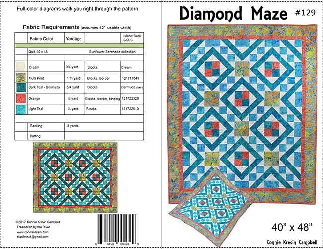 Pattern Cover for Diamond Maze is a beautiful quilt pattern shown in Island Batik fabrics easy to make #quilt #quiltpattern #batiks #islandbatik