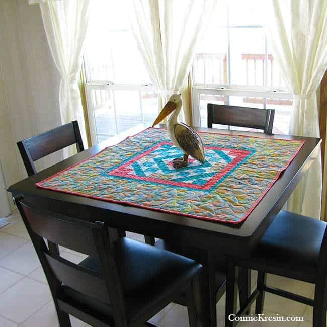 Diamond Maze Table Topper on the dining Table