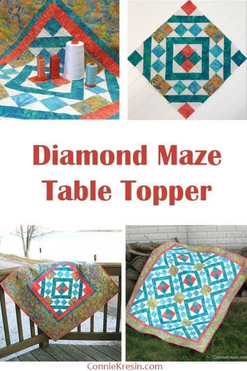 Diamond Maze batik table topper and batik quilt