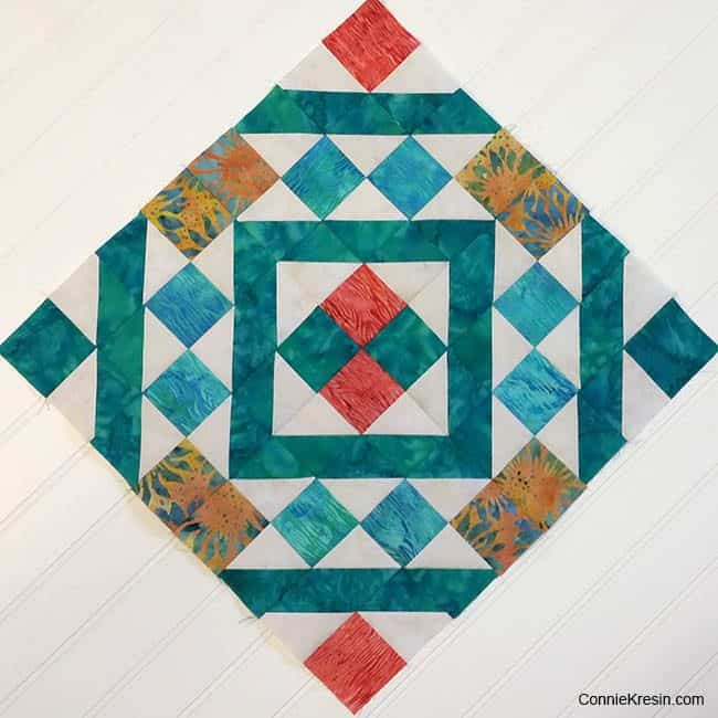 Diamond Maze diagonal quilt block on the diagonal