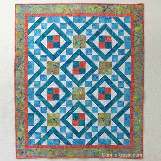 Diamond Maze is a beautiful quilt pattern shown in Island Batik fabrics easy to make #quilt #quiltpattern #batiks #islandbatik