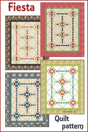 Fiesta is a fast, easy and fun quilt to make. My pattern includes full color diagrams to walk you through each step. I also include a black/white diagram that can be colored in your choice of colors.