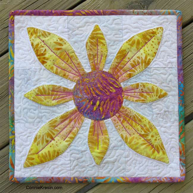Island Batik Applique Flower Candle Mat