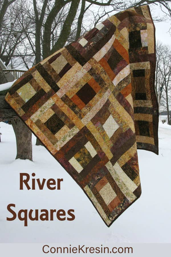 River Squares in brown batiks