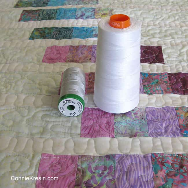 Aurifil 40wt and 50wt thread used for quilting