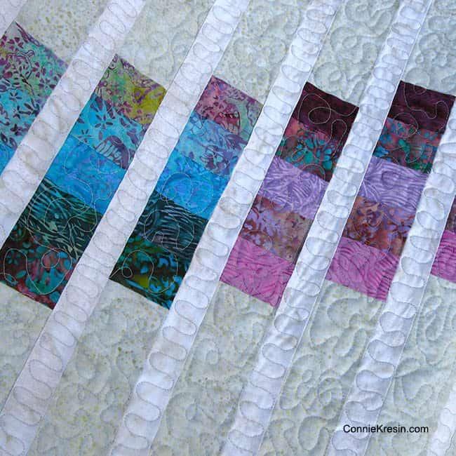 Batik Color Strata Bargello tablerunner closerup