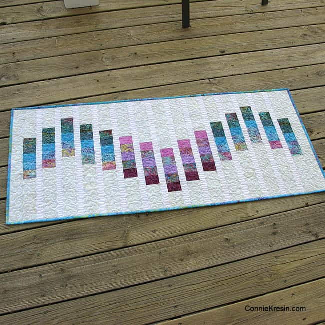 Batik Bargello tablerunner on deck