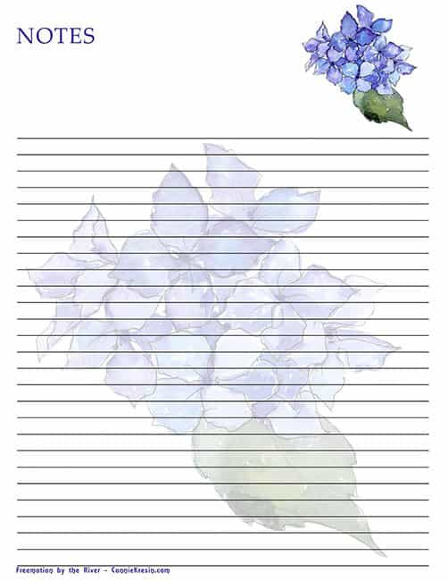 Free Printable note paper with blue Hydrangea