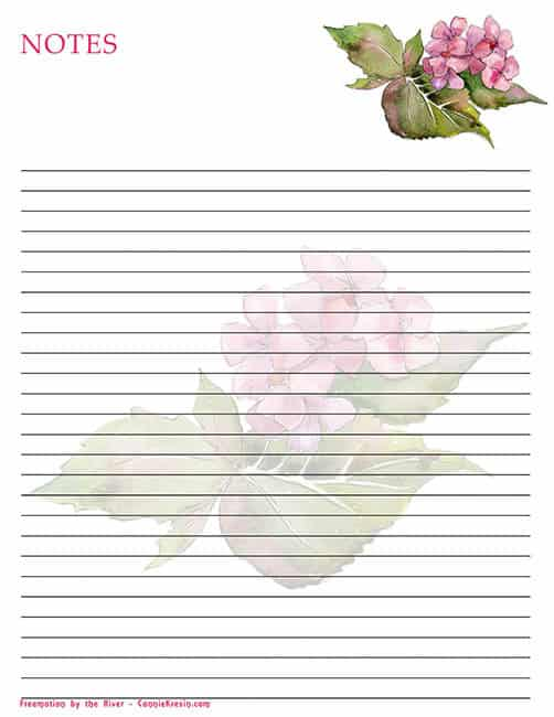 Free Printable note paper with pink Hydrangea