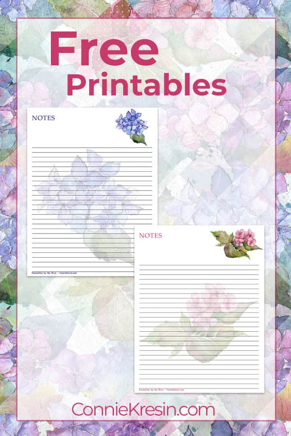 Free Printable Hydrangea Notes