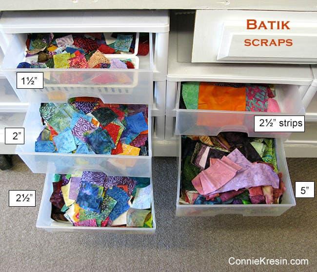 Batik Quilt Scrap Storage
