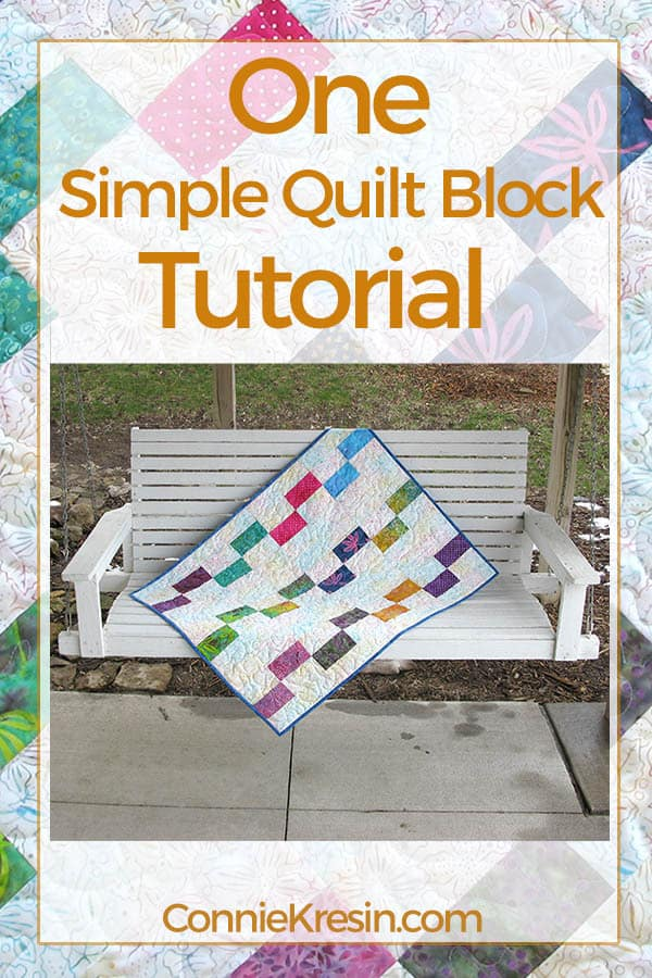 One Simple Block tutorial for baby quilt shown on porch swing