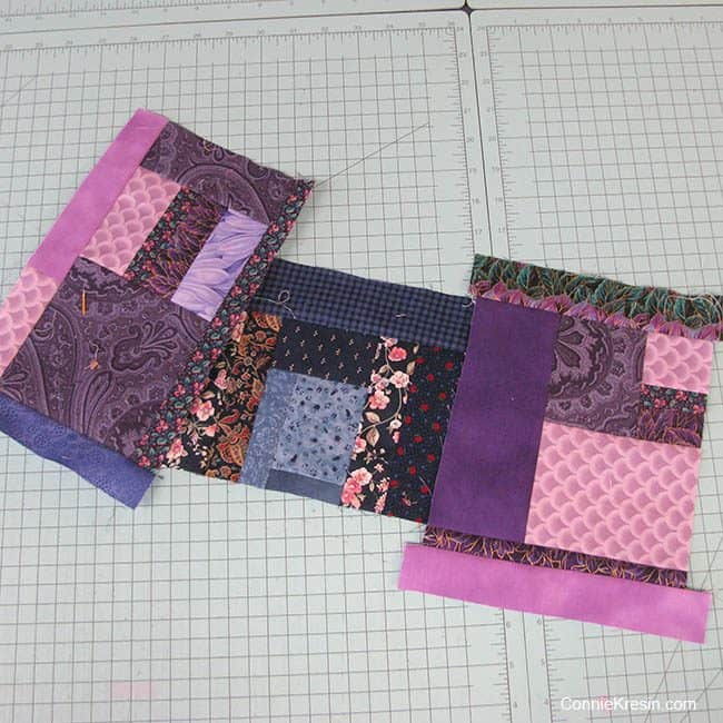 purple quilt scraps for the Grand Bazaar quilt