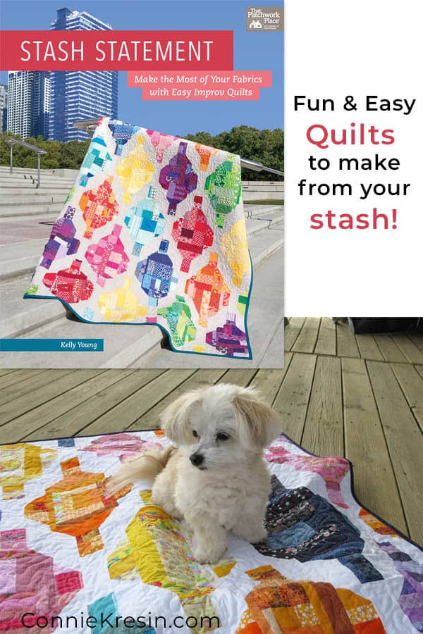 Stash Statement Quilt book by Kelly Young has fast and easy quilts this is the Grand Bazaar scrap quilt with our little dog sitting on it