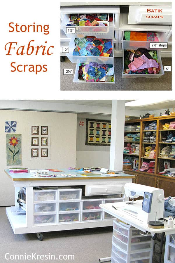 Storing fabric scraps in my quilt room