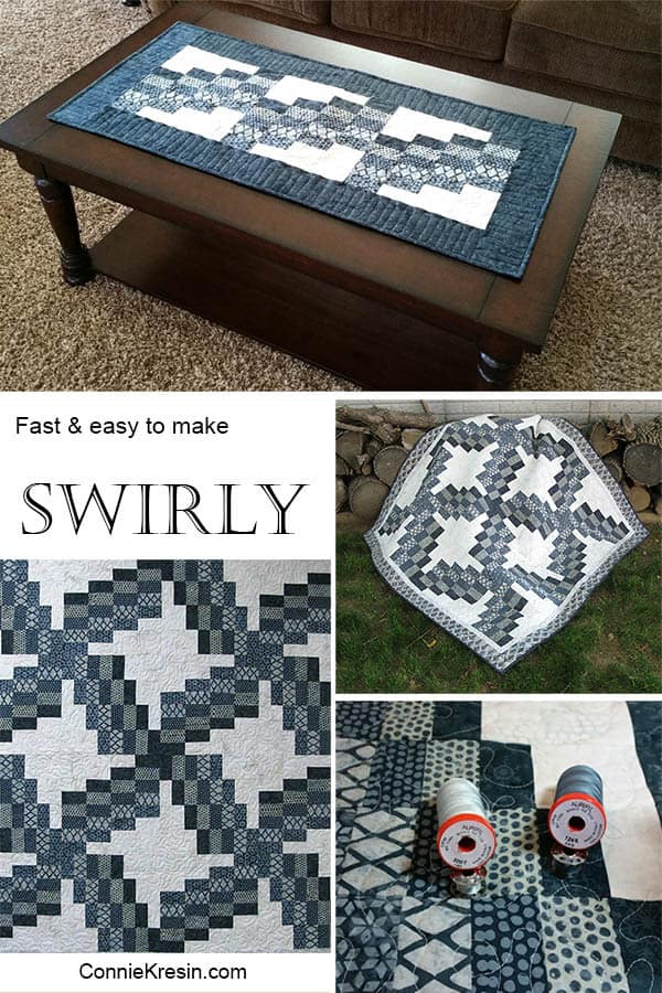 Swirly Quilted Table Runner fast and easy to make in batiks
