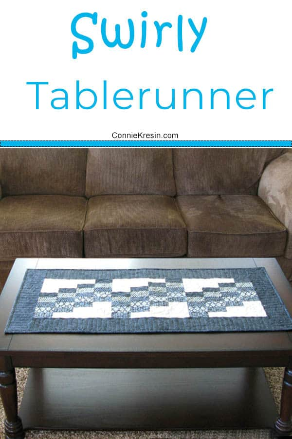 Swirly Quilted Table Runner on table by couch