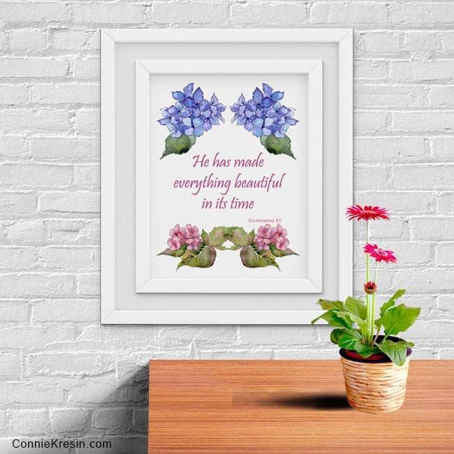 Free Floral Printable in a mockup frame
