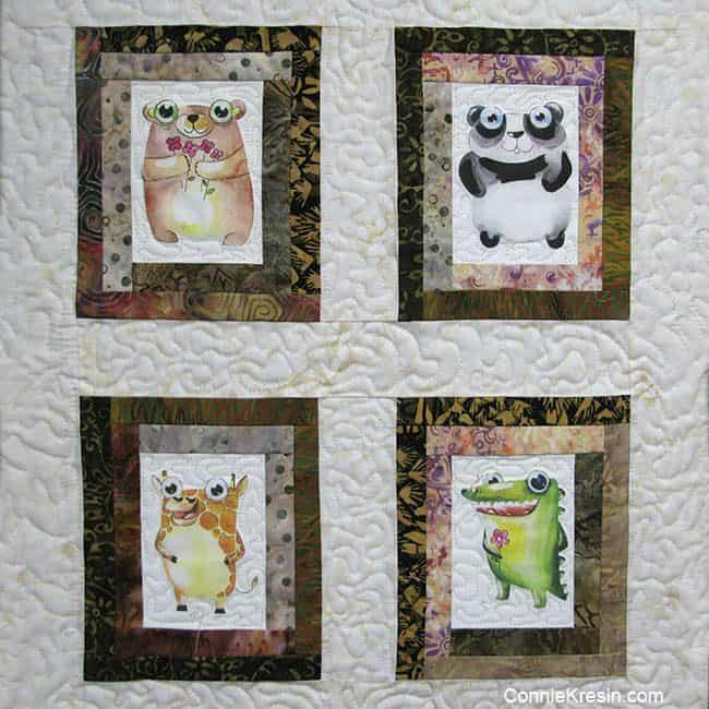 4 Cute Animals on quilt