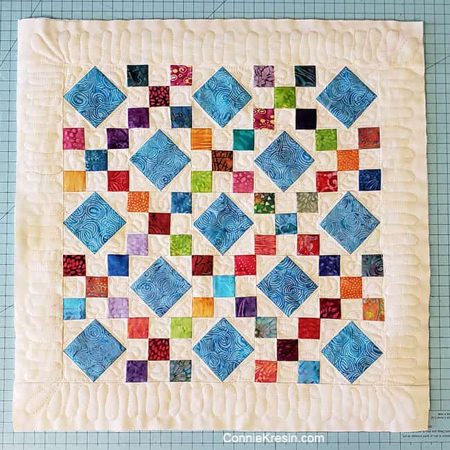 Scrappy Batik 9 patch quilted