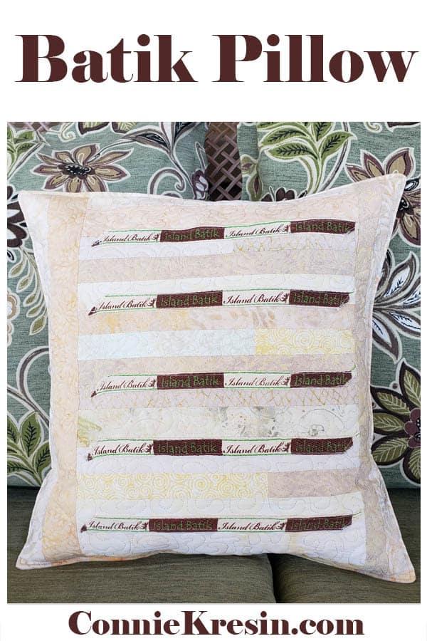 Island Batik Strip Label Pillow