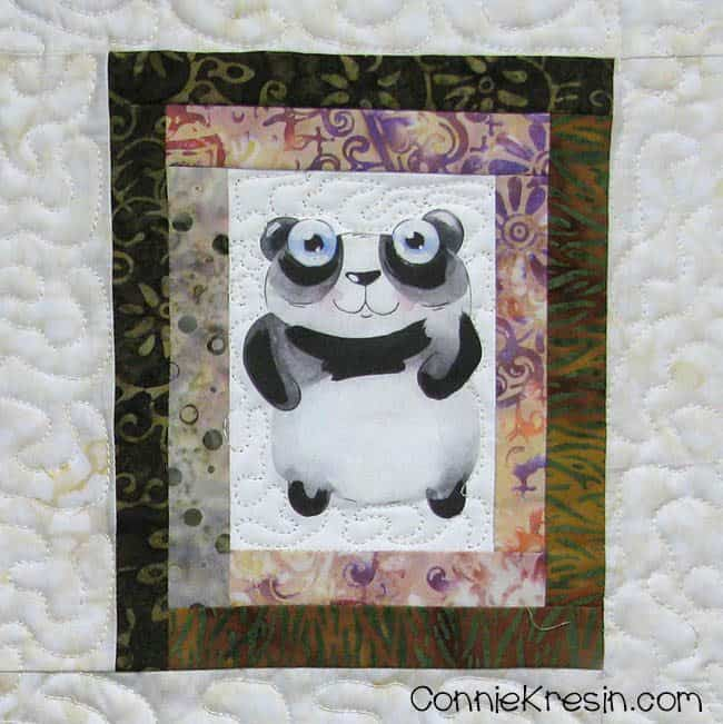 6 cute printed Panda on quilt