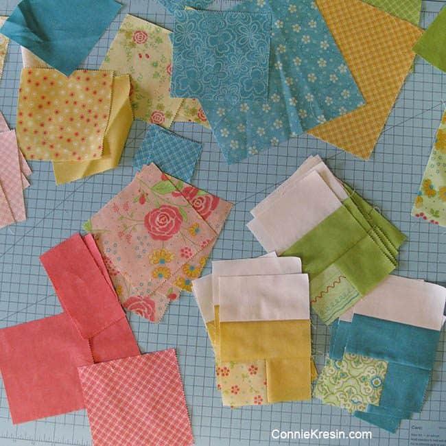 Quilt fabrics used for X-Block tablerunner