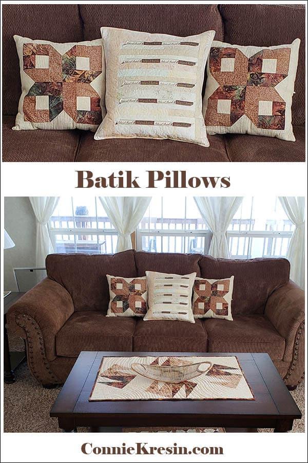 Island Batik Pillows tutorials