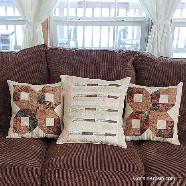 Island Batik quilt pillows displayed in my home