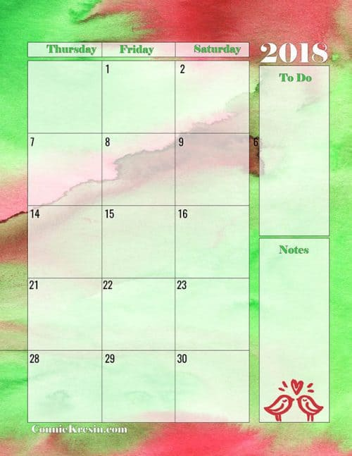 Free 2 page Printable Calendar for June