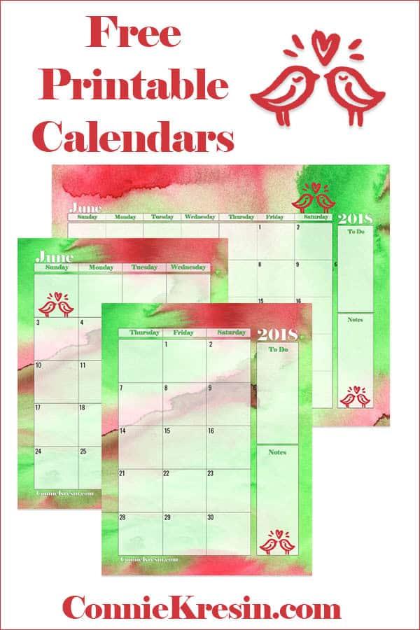 Free Printable Calendars for June