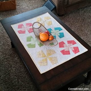 X-Block tablerunner on coffee table
