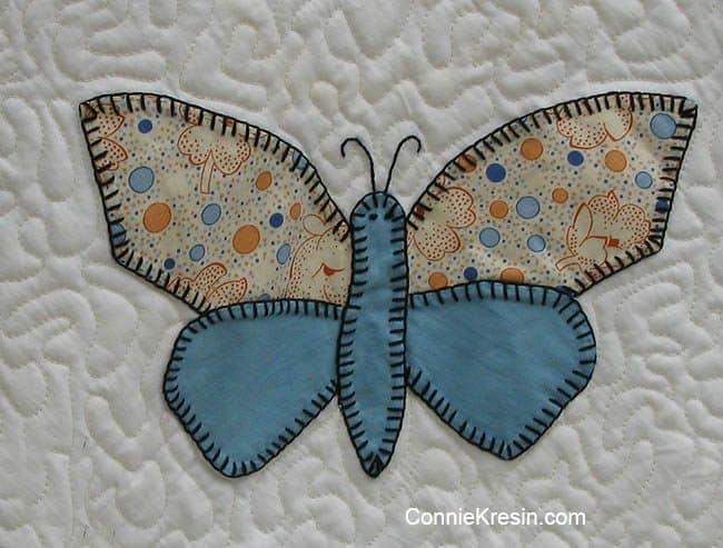Blue Antique Butterfly applique