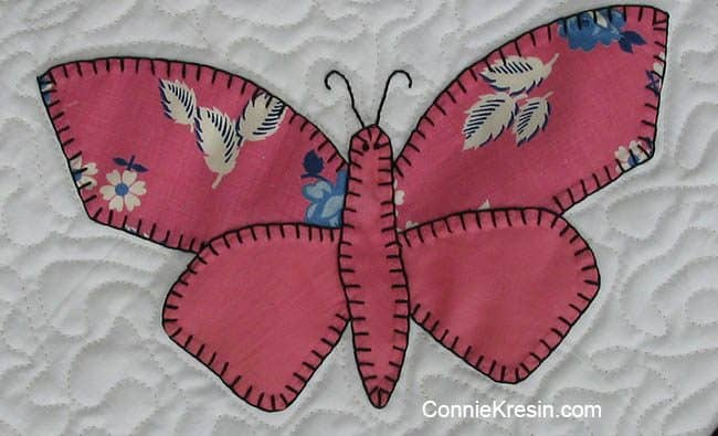 Pink Antique Butterfly applique