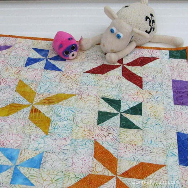Baby Quilt with stuffed animal toy