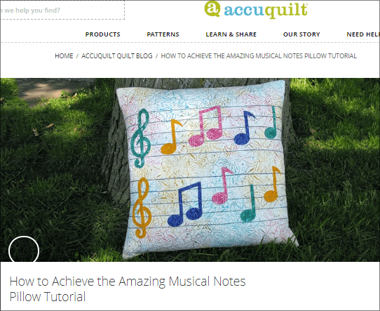 Musical Medley pillow post on AccuQuilt