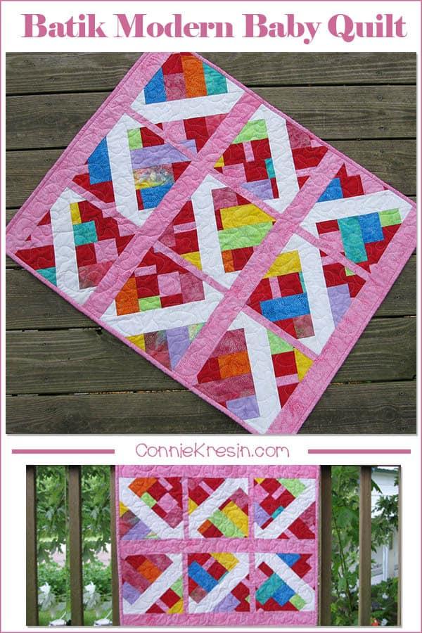 Modern Baby Quilt in batiks Embers FB