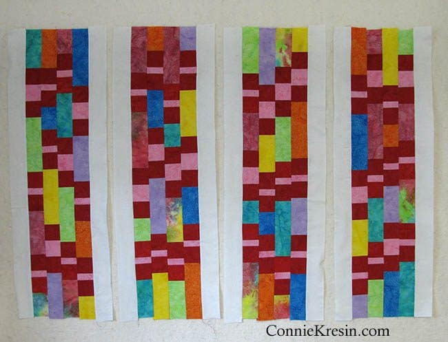 Cream Batik added to quilt strips