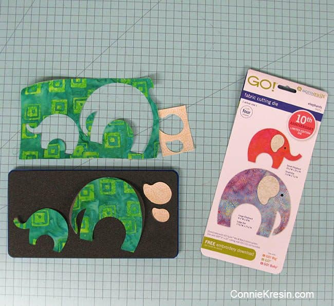 Cutting the elephants from the AccuQuilt die