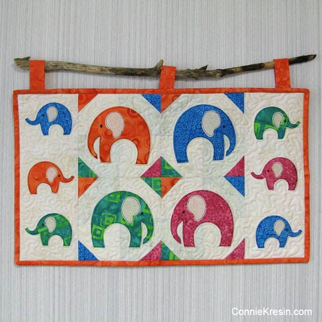 Elephant Walk Wall Hanging on stick