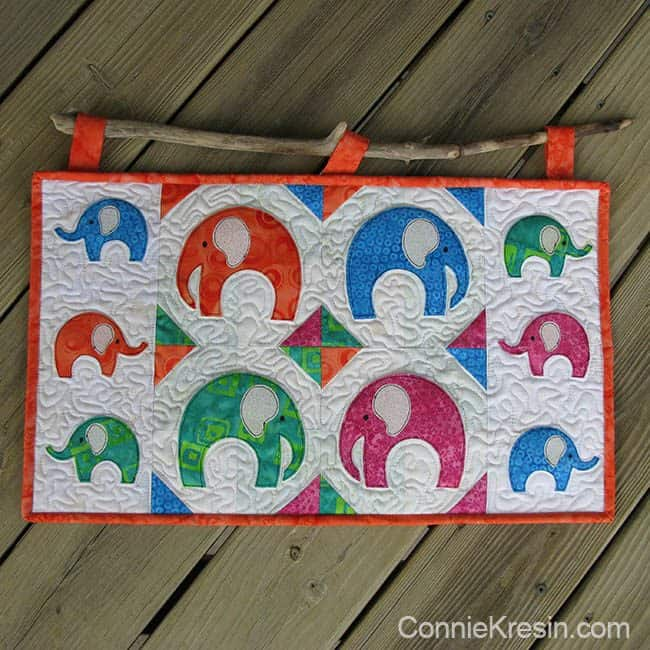 AccuQuilt Elephant die wall hanging with a stick on loops