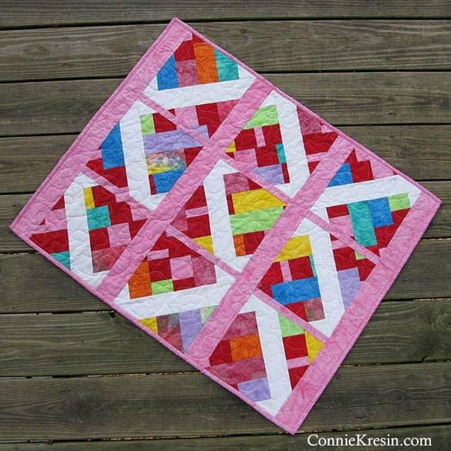 Modern Baby Quilt in batiks Embers deck